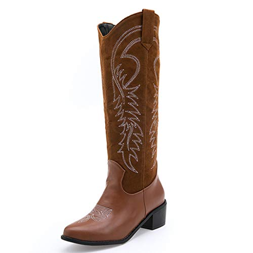 Women's Western Cowboy Boots   Classic Pointed Toe Embroidered Cowgirl Boot Knee High Pull on Tabs Shoes Boots (6.5-7 M US, Brown)