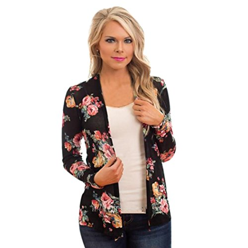 Rumas Women Floral Pattern Long Sleeve Knitted Cardigan Outwear Coat Tops (S, Black)