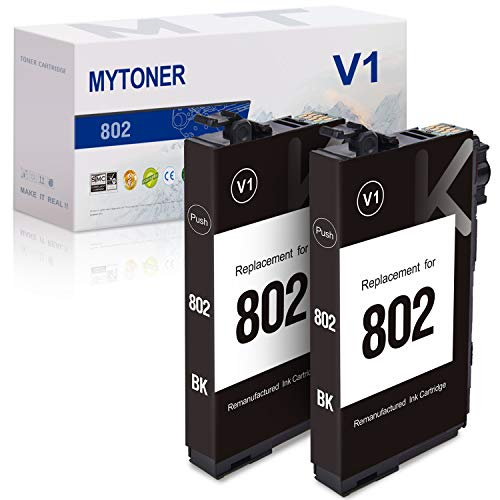 MYTONER Remanufactured Ink Cartridge Replacement for Epson 802 802XL 802-I T802 Ink for Workforce Pro WF-4720 WF-4730 WF-4734 WF-4740 EC-4020 EC-4030 EC-4040 Printer (Black, 2-Pack) -  Plenty Talent (Re-epson), T802120