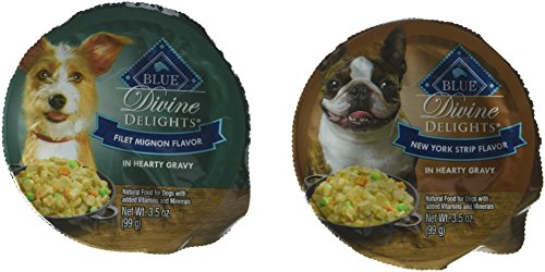 Blue Buffalo Blue Delights Filet Mignon in Gravy/NY Strip in Gravy Variety Pack Dog Food, 3.5 oz, Case of - Foods Dog Sample