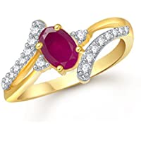 Meenaz Ruby 24K Ring South Indian Traditional Gold Ring for Girls & Women in American Diamond Cubic Zirconia Ring FR408