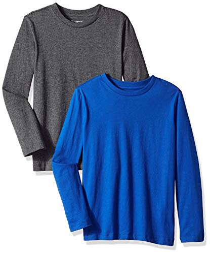 Amazon Essentials Big Boys' 2-Pack Long-Sleeve Tees, Royal Blue and B65 Heather, M(8)