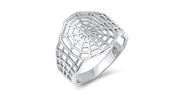 North Arrow Shop Spider Web Ring Sterling Silver High Polish Gothic Jewelry