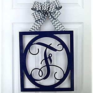 Initial Monogram Door Hanger | Gift for Mom | Framed Wood Letter Wreath - LOTS OF COLOR OPTIONS! 90