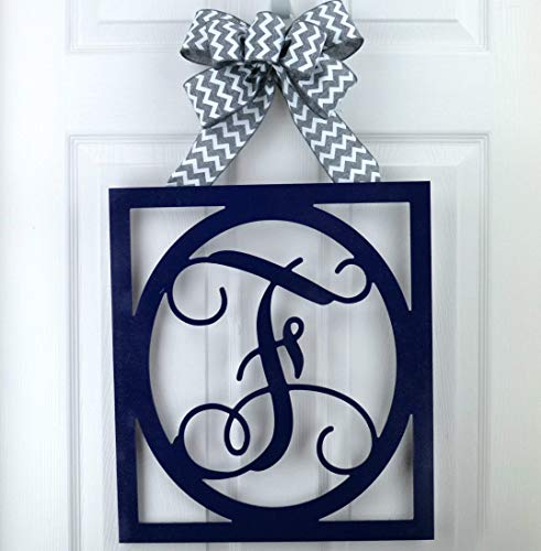 Initial Monogram Door Hanger | Gift for Mom | Framed Wood Letter Wreath - LOTS OF COLOR - Framed Pink Ribbon