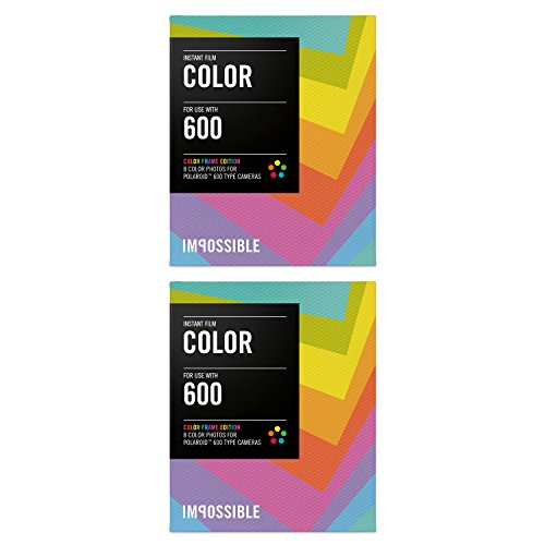 The Impossible Project Film for Polaroid 600-Type Cameras (Color Film, Color Frame, 2-Pack)