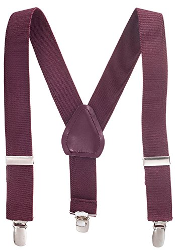 Suspenders for Kids Boys and Baby - Premium 1 Inch Suspender Perfect for Tuxedo - Burgundy Maroon (26