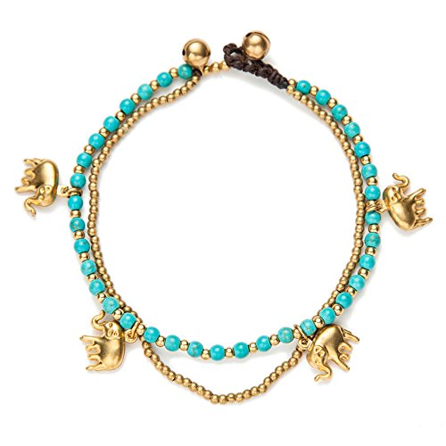 TOMLEE Bohemian Starfish Elephant Charm Beaded Alloy Chain Anklets for Women Braided Wax Rope Handmade Bell Clasp Anklet for Teen Girls, Boho Ankle Bracelets Foot Jewelry (Green-Two Layers)