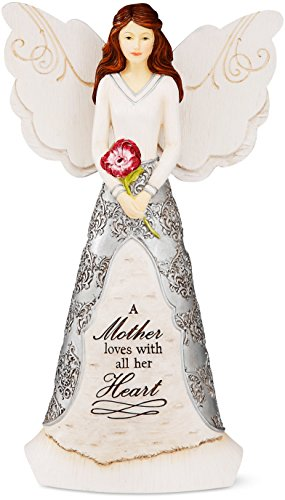 Elements Angel Statue - Elements Mother Angel Figurine by Pavilion, 8-Inch, Reads a Mother Loves with All Her Heart