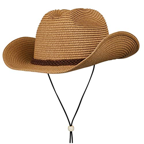 Cowboy Sun Protection (Straw Cowboy Hat,Summer Beach Sun Hats Men & Women Western Wide Curved Brim Fedora with Adjustable Chin Strap UPF50+ (L(7 1/4-7 3/8), A4-Khaki))