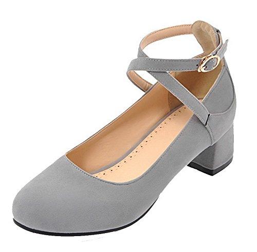 Allhqfashion Femmes Givré Round-toe Talon Bas Boucle Solide Chaussures-chaussures Gris