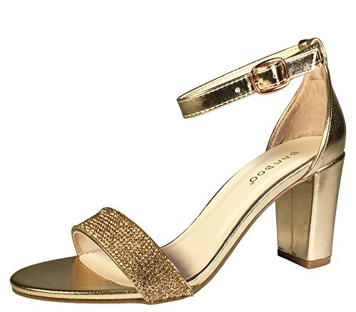 (BAMBOO Women's Embellished Single Band Mid Chunky Heel Sandal with Ankle Strap, Gold PU, 6.5 B (M))