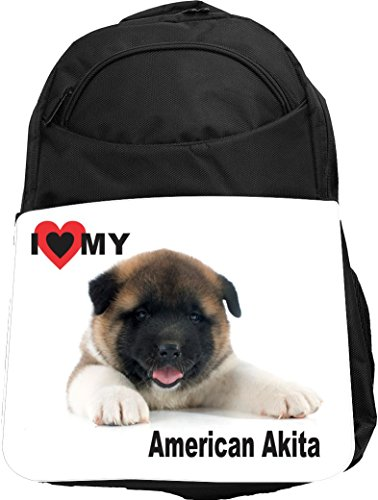 Puppy Love Backpack (Rikki Knight UKBK I Love My American Akita Puppy Dog Tech BackPack - Padded for Laptops & Tablets Ideal for School or College Bag BackPack)