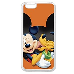 """Customized White Soft Rubber(TPU) Disney Cartoon Micky Mouse & Pluto Dog iPhone 6 4.7 Case, Only fit iPhone 6 4.7"""""""