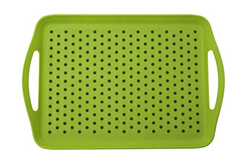 ChopMaster Rectangular Anti Slip Serving Tray with Handle (large, Green) (Green Dinner Plate Olive)