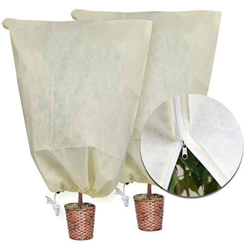 MIXC 2-Pack Plant Cover Tree Blanket Jacket with Zipper 47.2