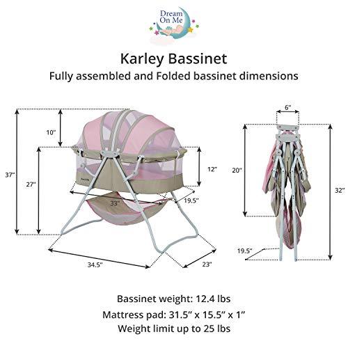 Dream On Me Karley Bassinet, Grey/Pink