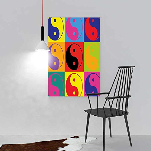 Nalahome Wall Art Painting Frameless Decor Pop Art Design Yin Yang Signs Hippie Style Eastern Asian Decorations Peace Posters Wall Decor Gift W24 X H36