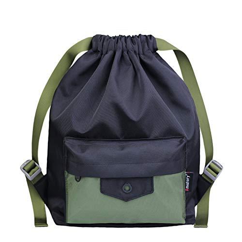 Drawstring Backpack Sports Athletic Gym String Bag Gymsack Sackpack Cinch Sack (Black-Green)