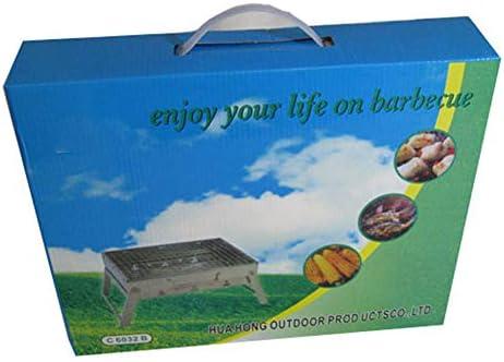 IUANUG Barbecue en Acier Inoxydable Réchaud Pliable Charbon Portable, Barbecue Barbecue portatif Poêle Carbone Camping Poêle Barbecue Grill
