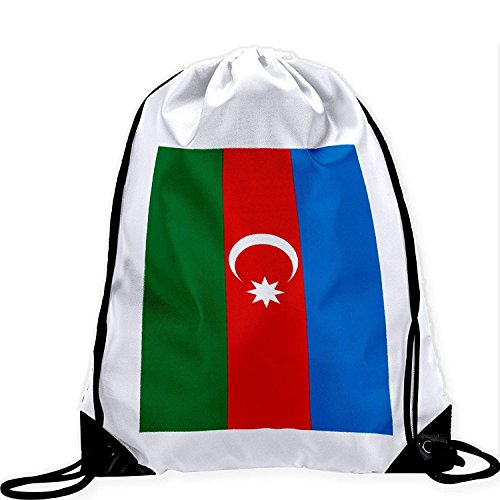 Large Drawstring Bag with Flag of Azerbaijan - Many Designs - Long lasting vibrant image by crystars