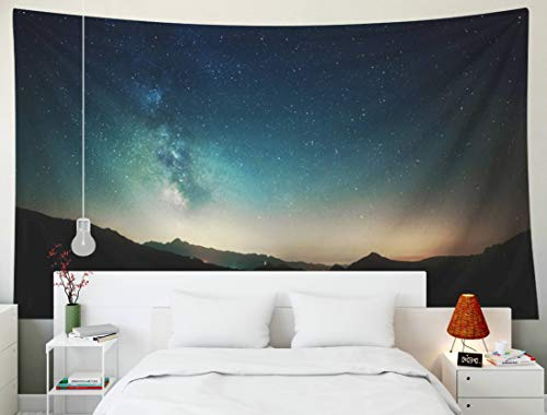 Yecationy Dorm Tapestry, Tapestry Psychedelic Tapestry 80x60 Inch Amazing Night Sky Stars Panorama Milky Way Mountain Background Tapestry Wall Hanging Living Room Decoration Tapestries - Way Milky Panorama