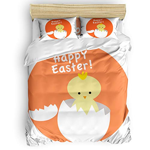 - T&H Home Happy Easter Duvet Cover Set Full Size, Baby Chick Broken Egg Shell Design Decorative 4 Piece Bedding Set with 2 Pillow Shams for Home/Hotel/Theme Room/Kids/Teens/Adults