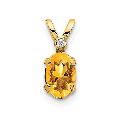 14k Yellow Gold Diamond Citrine Birthstone Pendant Charm Necklace November Oval Fine Jewelry Gifts For Women For Her