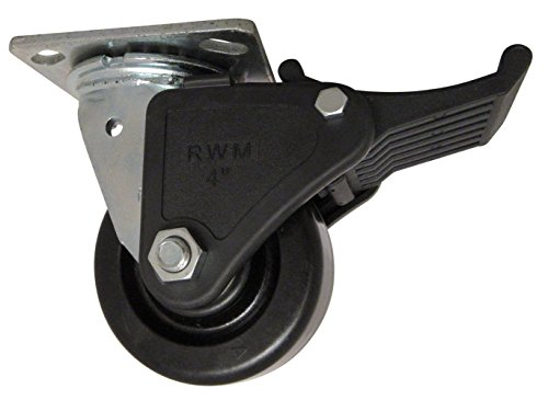 """RWM Casters 46 Series Plate Caster, Swivel with Face Contact Nylon Brake, Phenolic Wheel, Roller Bearing, 800 lbs Capacity, 4"""" Wheel Dia, 2"""" Wheel Width, 5-5/8"""" Mount Height, 4-1/2"""" Plate Length, 4"""" Plate Width from RWM Casters"""