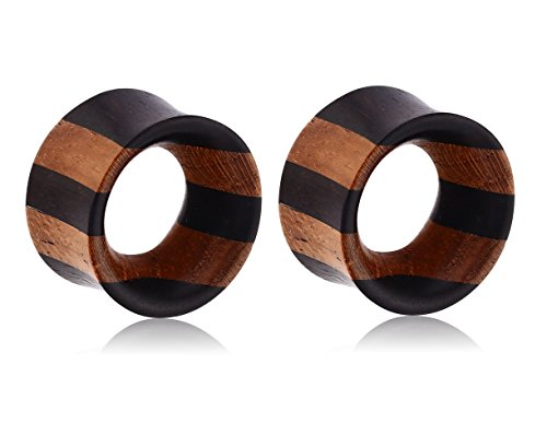 Holy Plug Body Piercing Jewelry Pair of 2 Teak Wood-Iron Wood Layered Double Flared Tunnel 000g 0000g 9/16 5/8 11/16 13/16 7/8 2g 0g