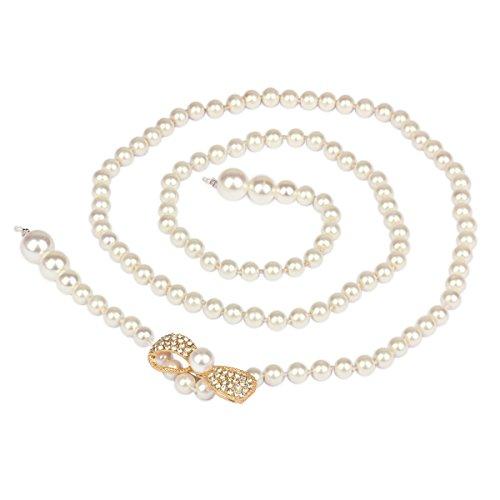 Rhinestone Buckle Bow (Damara Womens Rhinestone Bow Buckle Pearl Waist Belt Exquisite Waistband,Gold)