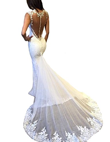 Gralre Women's Sexy Open Back Beach Wedding Dresses Mermaid Long Lace Appliques Bridal Gowns Ivory US2 by Gralre