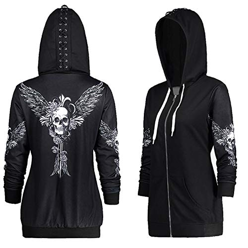 Sleeve Steampunk Gothic Lace Up Hooded Hoodie Jacket Top Skull Wing Printed (Black, L) ()