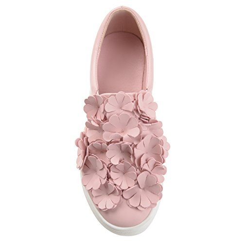 Flowers on Pink Sneakers Faux Collection Leather Cascading Journee Womens Slip 3D wI8qRa