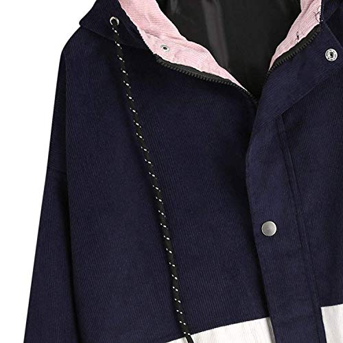 Otoño Chaquetas Blau Abrigos Capucha Mujer con Chaqueta Mujeres Ocasional Anchos Grande fashion Outerwear Termica Clásico Laisla Talla Manga Patchwork Larga Invierno Corduroy Hznwt5Uxq1