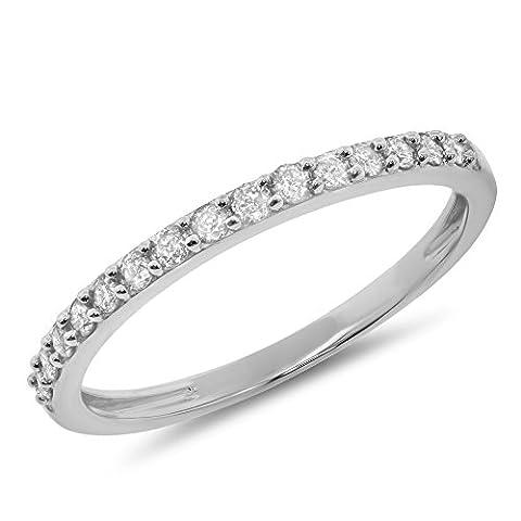 0.26 Carat (ctw) 14k Gold Round Diamond Ladies Prong Set Anniversary Wedding Band Stackable Ring 1/4 CT - White-gold, Size - Cut Halo Petite Diamond
