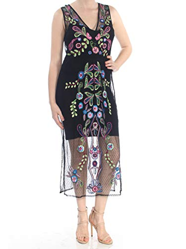 - GUESS Womens Cassia Embroidered Sequined Sheath Dress Black XS