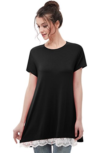 - Musever Women's Short Sleeves Tunic Tops Casual Lace T-Shirt Blouse Black 2XL