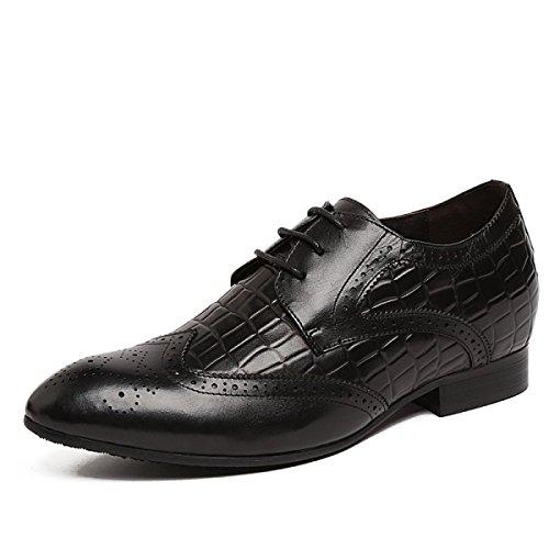 GRRONG Zapatos De Cuero De Los Hombres De Encaje Con Traje De Etiqueta De Ocio Transpirable Black