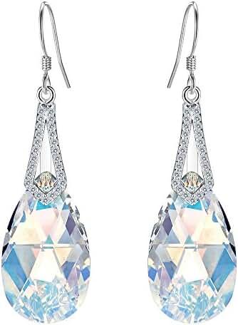 EleQueen 925 Sterling Silver CZ Teardrop Bridal Hook Dangle Earrings Adorned with Swarovski Crystals
