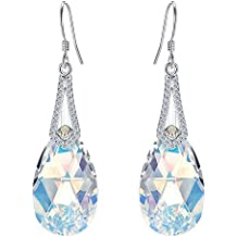 EleQueen 925 Sterling Silver CZ Teardrop Bridal Hook Dangle Earrings Made with Swarovski Crystals