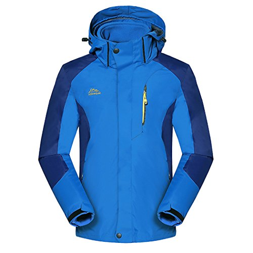 Real Spark(TM) Men 3 in 1 Detachable Fleece Liner Hiking Ski Windproof Hooded Outdoor Jacket Sky Blue - Sky Australia Ski