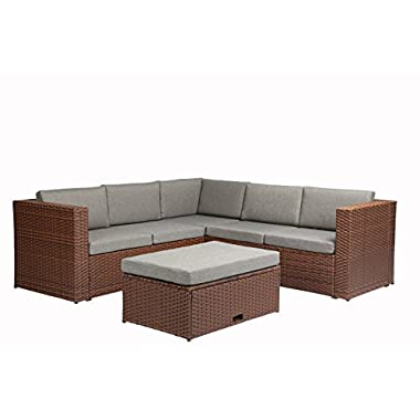 Baner Garden (K35-BR) 4  Pieces Outdoor Furniture Complete Patio Cushion Wicker Rattan Garden Corner Sofa Couch Set, Full, Brown