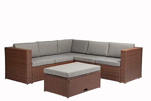 (Baner Garden (K35-BR 4 Pieces Outdoor Furniture Complete Patio Cushion Wicker Rattan Garden Corner Sofa Couch Set, Full, Brown)