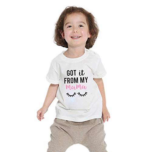 Benficial Toddler Baby Kids Girls Boys Letter Cartoon Printed T-Shirt Tops Clothes White -