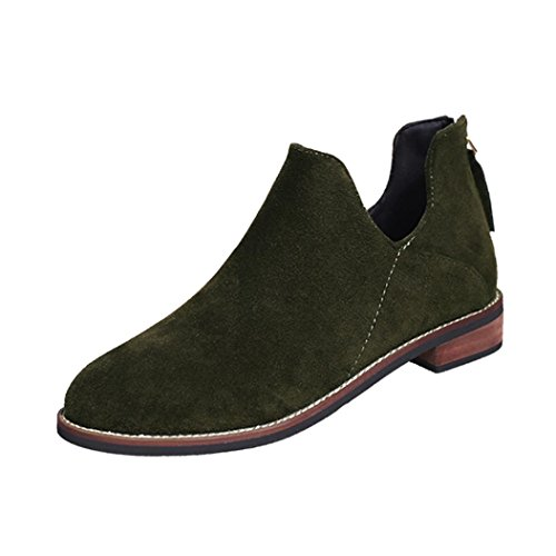 Ankle Shoes Zip leather Martin Green Boots erthome Warm Women Solid Ladies Buckle Artificial Boots qwxzWRfB
