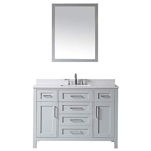 Ove Decors Maya 48 Dove Grey Single Sink Vanity with Marble Top, Backsplash and Mirror, 48 inches, (Bathroom Vanity 48 Inch With Top)