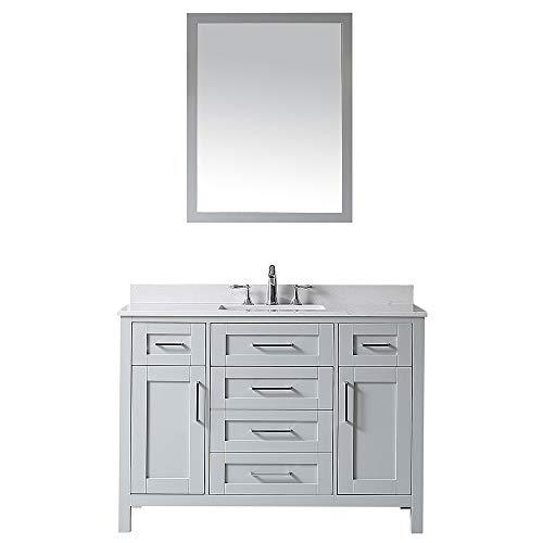 48 Inch Single Bathroom Vanity - Ove Decors Maya 48 Dove Grey Single Sink Vanity with Marble Top, Backsplash and Mirror, 48 inches,