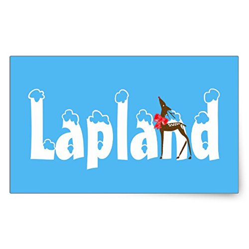 Lapland Reindeer Travel Promo Blue Luggage Sticker - Sticker Graphic - Travel Vintage Luggage Sticker for Bumpers Suitcase Luggage Folders Decor Sticker Decal Souvenir Sticker (Lapland Reindeer)