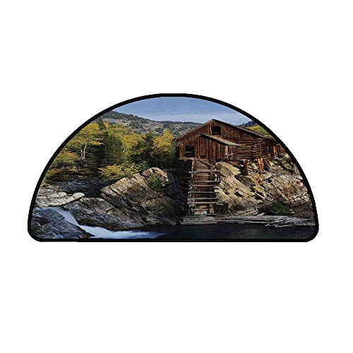 Landscape Comfortable Semicircle Mat,Secluded Wooden Cabin in Woods River Waterfall Forest Mill Mountain Pine Trees for Living Room,39.3